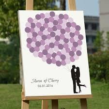 purple wedding guest book custom balloons signature guestbook tree fingerprint wood frame