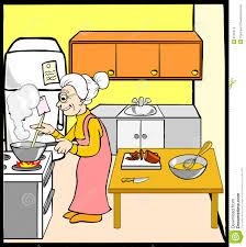 dans la cuisine grand mère dans la cuisine illustration de vecteur illustration