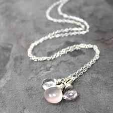 gemstone necklace pendant images Pink gemstone necklace sterling silver rose quartz amethyst JPG