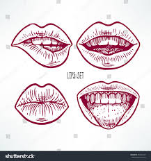 cute set different sketch lips handdrawn stock vector 450501349