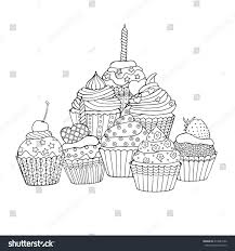 various cup cakes decorated cupcakes hearts stock vector 414589162