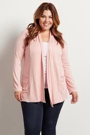 light pink front pocket plus size cardigan