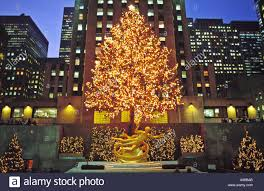 usa new york nyc rockefeller center with christmas tree and statue