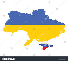 Map Of Ukraine And Crimea Flag Ukraine Overlaid On Map Crimea Stock Vector 215913322