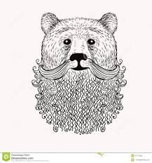 sketch bear with a beard hand drawn illustration doodl stock