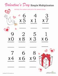 valentine u0027s day simple multiplication worksheet education com