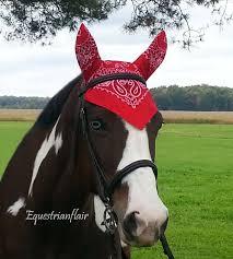 horse fly bonnet mask bandana horse saddle pad tack red