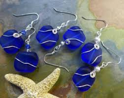 blue earrings sea blue earrings etsy