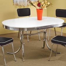 coaster 50s retro nostalgic style oval dining table chrome plated