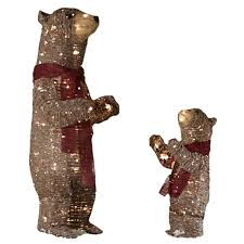 Lowes Holiday Decorations Shop Holiday Living Pre Lit Bear Sculpture With Constant Clear