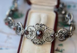garnet bracelet silver images Antique handcrafted sterling silver bracelet with rose cut jpg