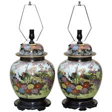 large pair ginger jar lamps japanese mid century the treasure