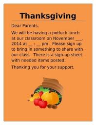 thanksgiving potluck lunch invitation letter to parents by kinderswiss