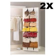 Over Door Closet Organizer - 2 over door hanging purse clothes cap hat storage closet organizer