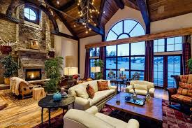 rustic livingroom rustic living room with carpet cathedral ceiling in aspen co