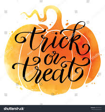 trick or treat halloween background trick treat hand drawn lettering on stock vector 493473475