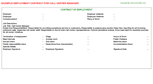 call center agent employment contracts