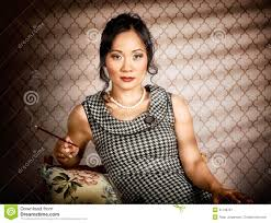 lady with pearl necklace images Stylish vintage asian pin up lady with cigarette stock image jpg