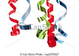 curly ribbon curly ribbon hanging in front of white blue and green