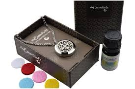 leather necklace gift box images Flower of life essential oil diffuser necklace jpg