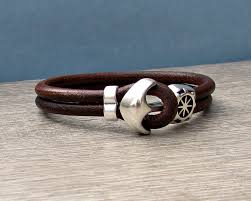 bracelet men leather images Anchor bracelet mens leather bracelet cuff sailing bracelet jpg