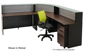 Glass Top L Shaped Computer Desk Shaped Glass Top Reception Desk