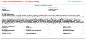 crew manager employment contract