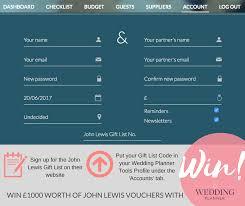 wedding gift list lewis win 1000 in lewis vouchers weddingplanner co uk