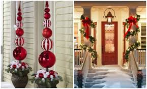 Cheap Outdoor Christmas Decorations by Front Porch Christmas Decorating Ideas Country Garland With