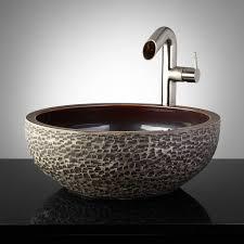flores hand glazed pottery vessel sink charcoal gray glazed