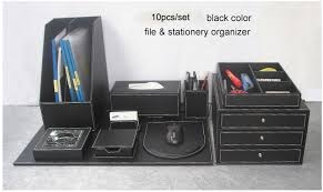 Desk Organizer Sets 10pcs Set Wood Leather Office Desk File Stationery Accessories