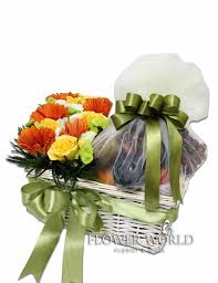 fruits and blooms basket assorted fruit basket fresh flowers assorted flowers yellow