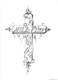 cool cross tattoo drawn cross line drawing pencil and in color drawn cross line