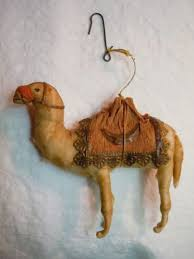 antique spun cotton camel ornament german