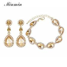 bridal earrings bracelet sets images Minmin champagne crystal bridal jewelry sets teardrop earrings jpg