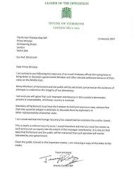 jermy corbyn u0027s letter to theresa may re israeli take down threat