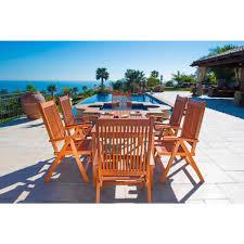 vifah balthazar eucalyptus 7 piece patio dining set with folding