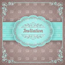 Wallpaper Invitation Card Vintage Invitation Or Frame On Blue Luxurious Wallpaper Vector