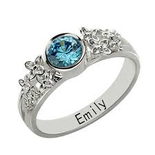 Name Rings Silver Birthstone Rings With Engraved Name At Nameplatedepot