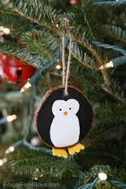 wood slice penguin ornaments