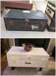vintage military trunk repurposed into a coffee table refinish
