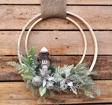 winter holiday woodland embroidery hoop wreath winter holidays