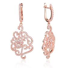 gold earrings uk ingenious gold chandelier earrings with pave flower design