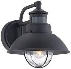 Outdoor Light Fixtures With Motion Sensor Fallbrook 9 H Black Dusk To Motion Sensor Outdoor Light