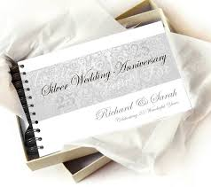 anniversary guest book personalised silver wedding anniversary guestbook by amanda