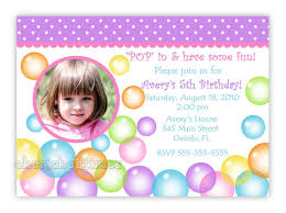 Avery Invitation Cards Blowing Bubbles Birthday Photo Card Invitation Digital File