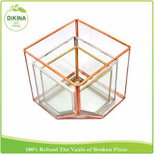 crystal transparent glass copper metal frame hanging glass