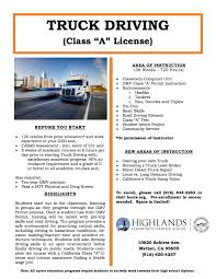 Truck Driving No Experience Career Technical Education Highlands Community Charter