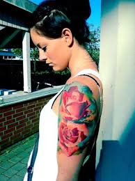 feminine red roses half sleeve tattoos real photo pictures