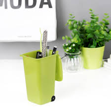 Desk Pencil Holder Mini Wheelie Bin Desk Tidy Office Desktop Stationery Organiser